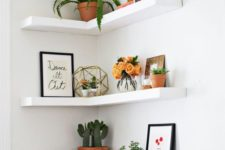 28 decorate an awkward corner with floating IKEA Lack shelves to get maximum of this space