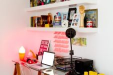 29 use IKEA Lack shelves over the desk to make your working spac emore comfortable