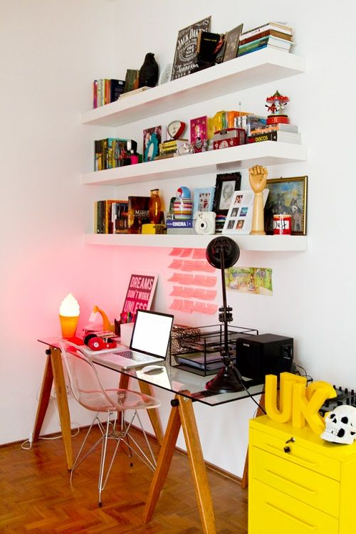 use IKEA Lack shelves over the desk to make your working spac emore comfortable