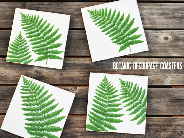 DIY botanical decoupage tile coasters