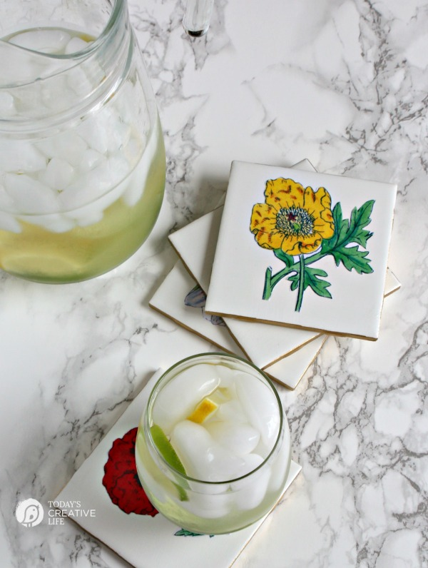 DIY tile decoupage floral coasters