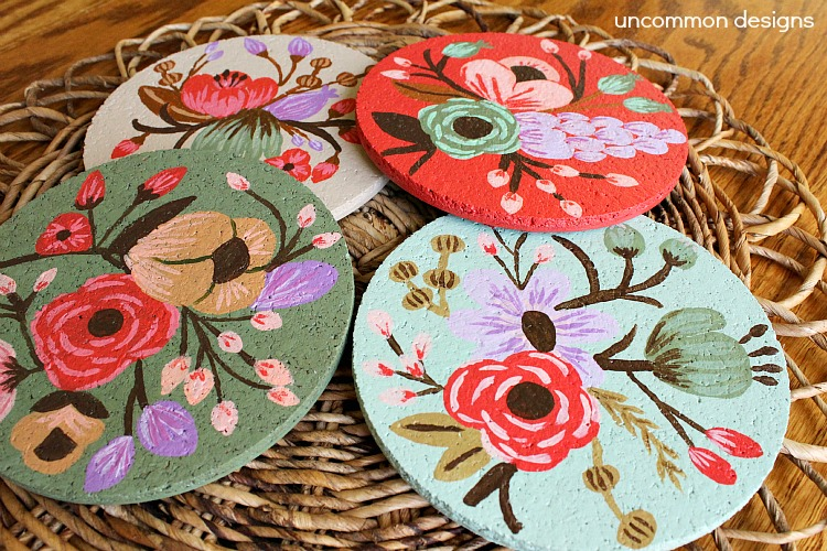 DIY floral painted cork coasters