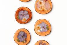 DIY wood slice and dried flower coasters