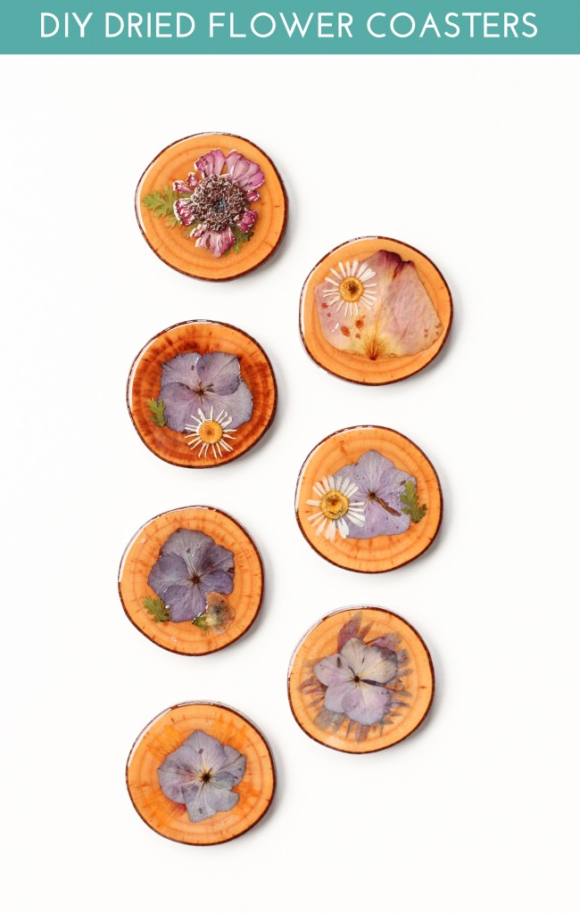 DIY wood slice and dried flower coasters (via thecraftedlife.com)