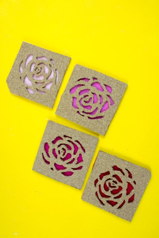 DIY rose cork coasters