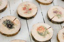 DIY raw edge wood slice coasters with vintage flowers