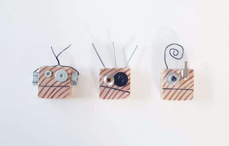 DIY fun scrappy robot magnets