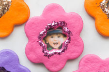 DIY salt dough flower magnets with photos