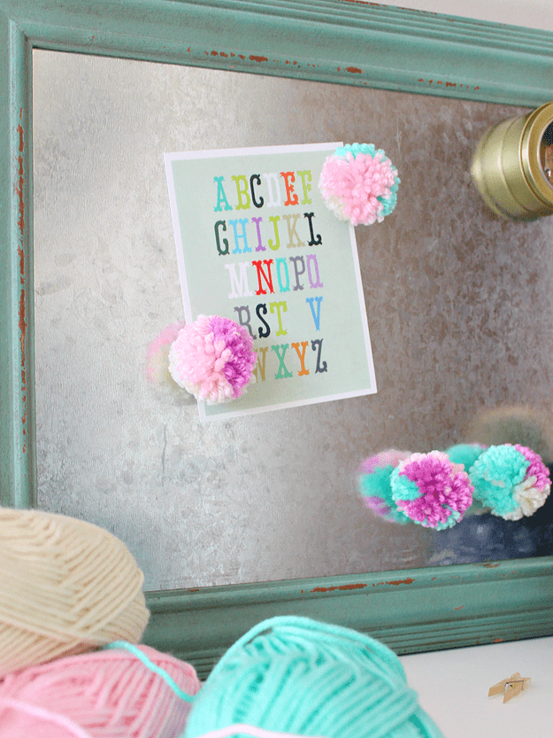 DIY colorful pompom magnets (via www.whitehousecrafts.net)