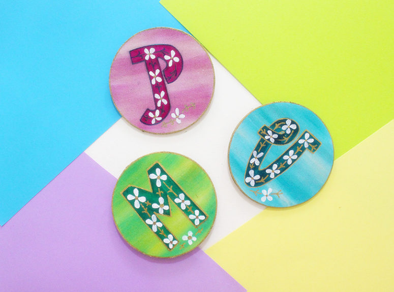 DIY colorful botanical letter magnets (via thecraftables.com)