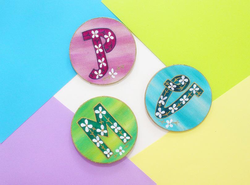 DIY colorful botanical letter magnets