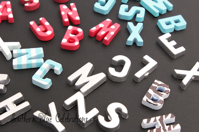 DIY striped, polka dot and metallic letter magnets (via southernbluecelebrations.blogspot.ru)