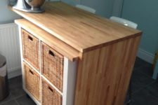 DIY IKEA Expedit ktichen island with a rolling part