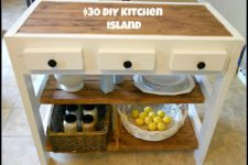 DIY small farmhouse kitchen island in white and wood