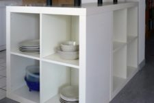 DIY L-shaped kitchen island of 2 IKEA Kallax units
