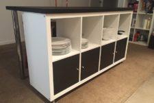 DIY black and white kitchen island of IKEA Kallax unit