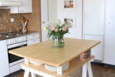 DIY lightweight kitchen island of Finnvard legs and wood