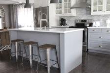 DIY grey and white kitchen island with much storage