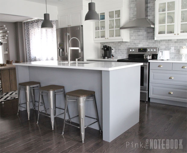 DIY grey and white kitchen island with much storage