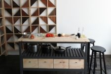 DIY contrasting kitchen island in black and light-colored wood