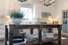 DIY rustic vintage kitchen island with open storage