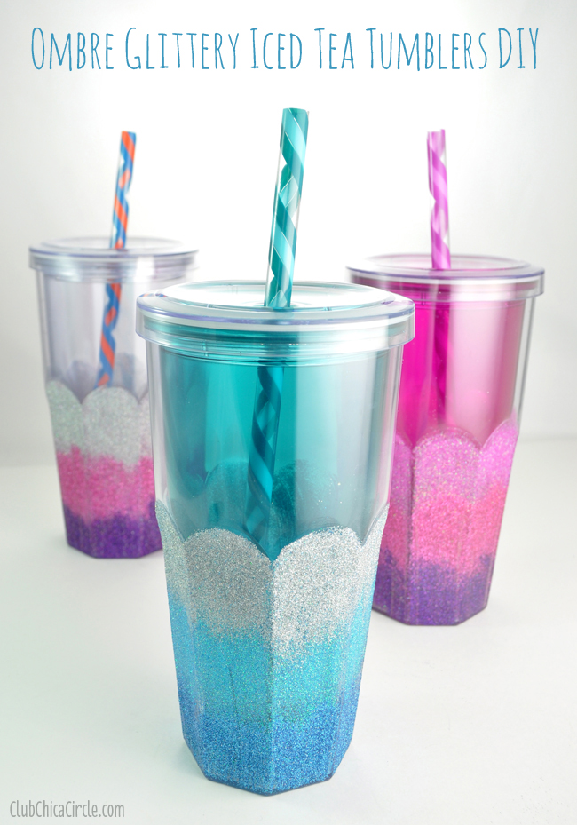 DIY ombre glitter tumblers with a scallop edge