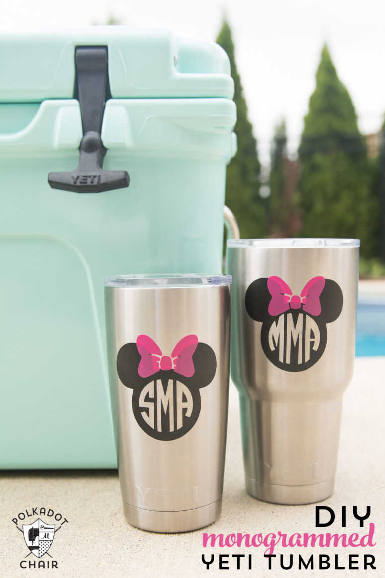 DIY stainless steel tumblers decorated with Disney images and monograms (via www.polkadotchair.com)