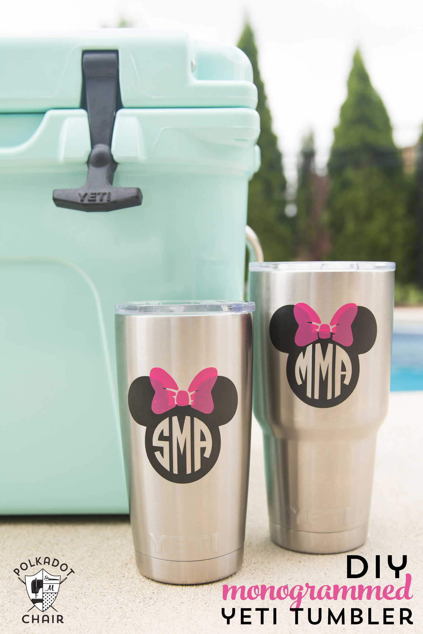 DIY stainless steel tumblers decorated with Disney images and monograms