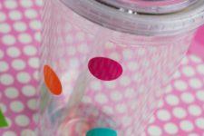 DIY colorful polka dot clear tumblers