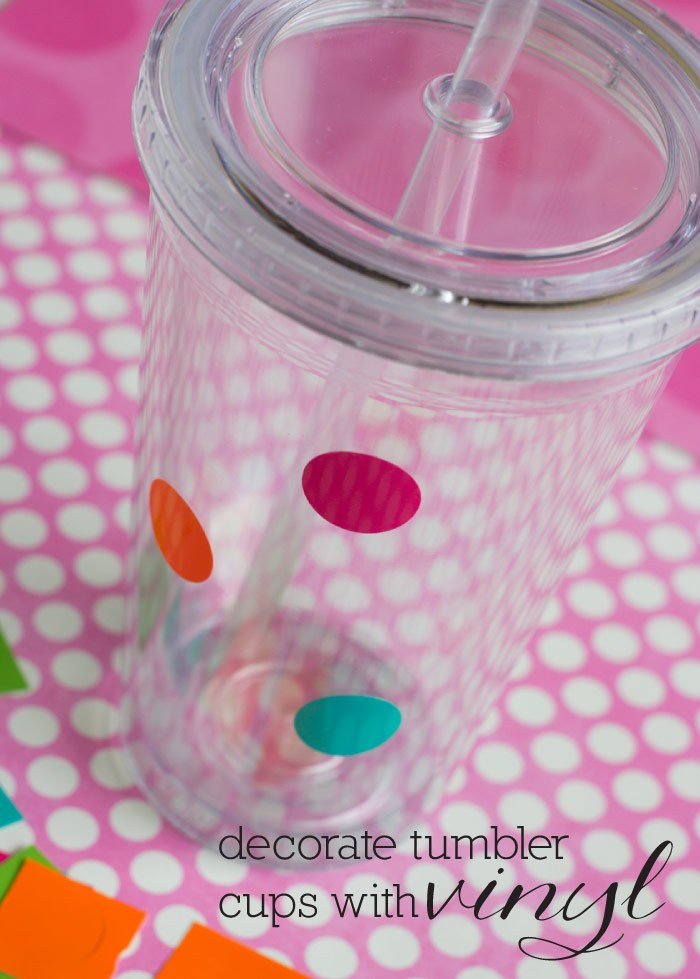 DIY colorful polka dot clear tumblers (via mothersniche.com)