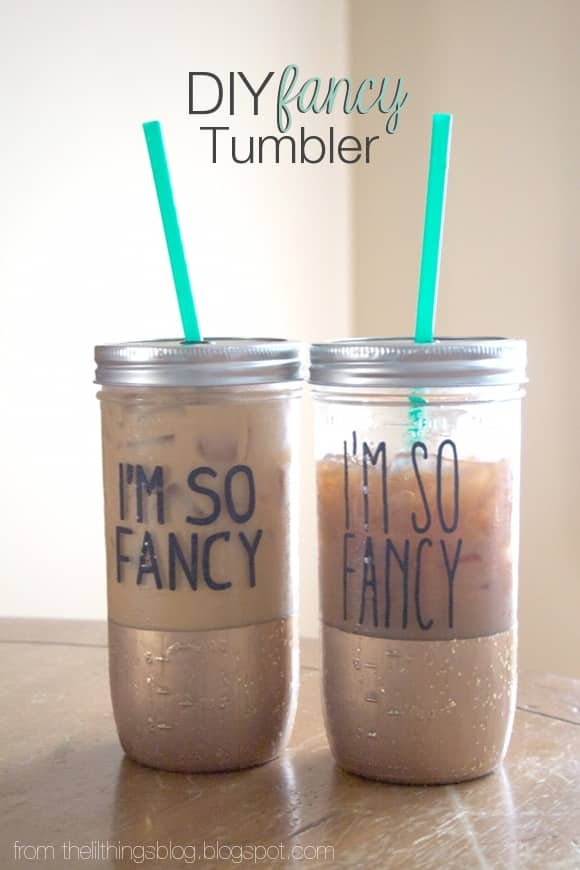 DIY gold painted and stenciled letters mason jar tumblers (via prettyprovidence.com)