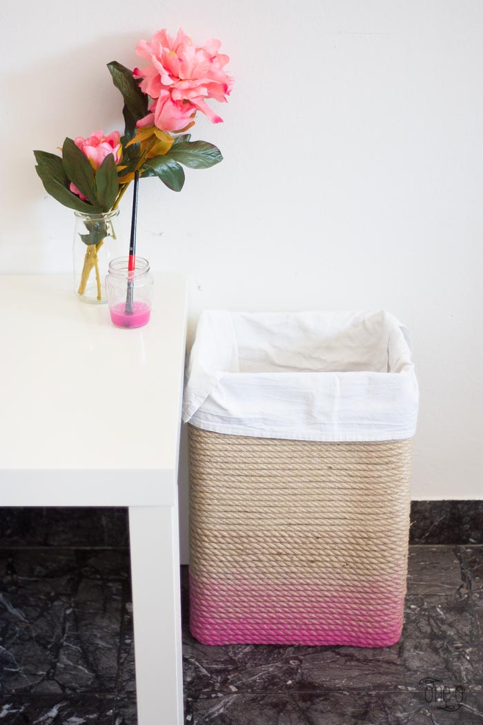 DIY ombre rope covered hamper of a box