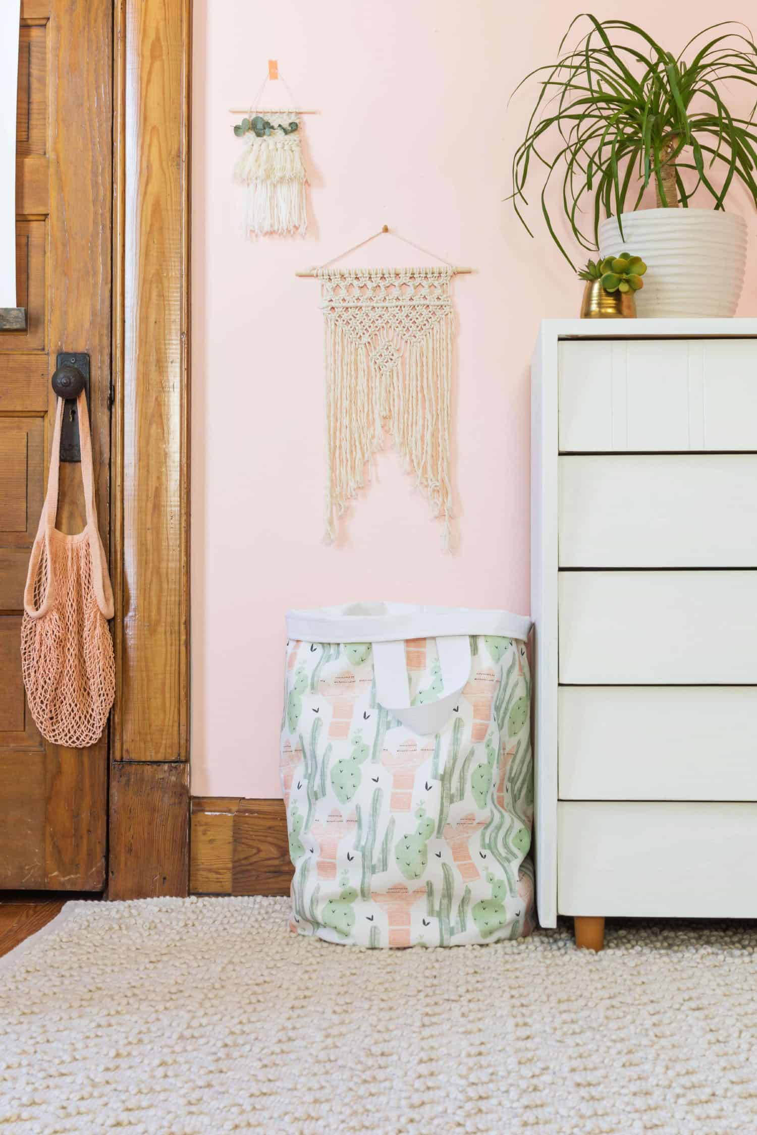 DIY sewn laundry basket of printed fabric