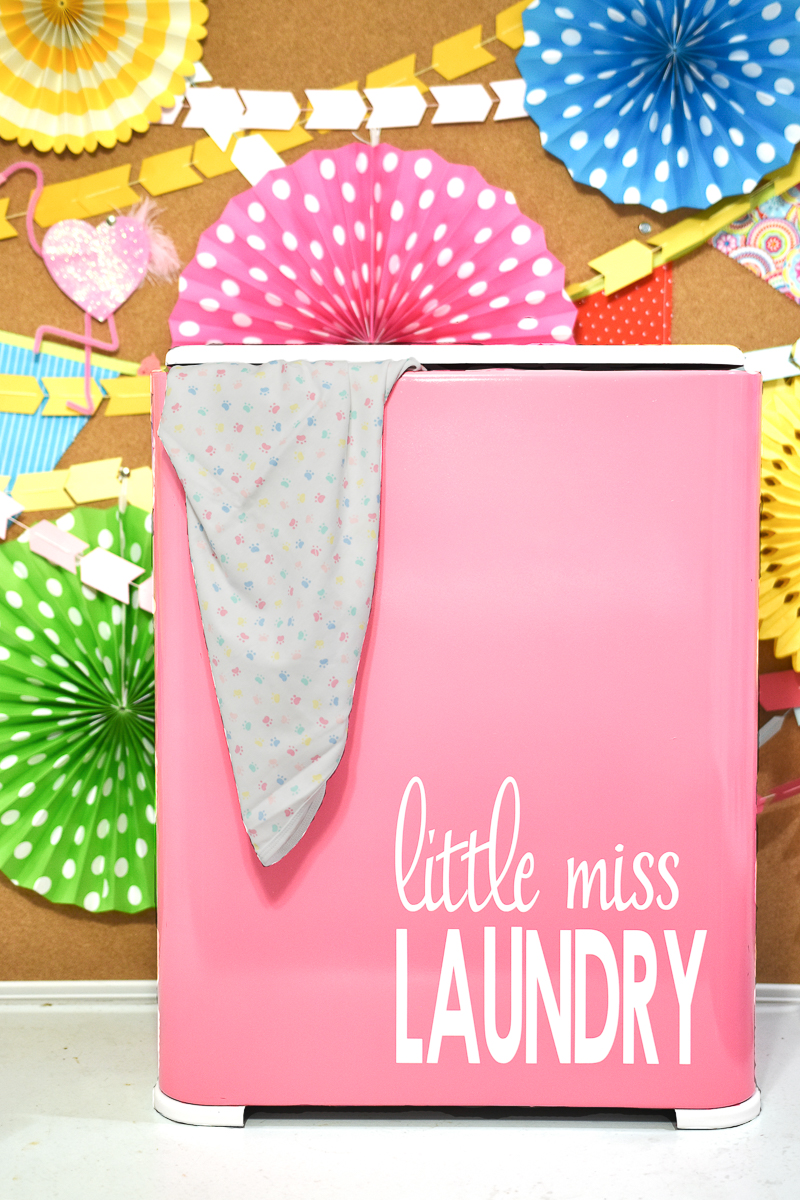 DIY laundry basket in pink with letters