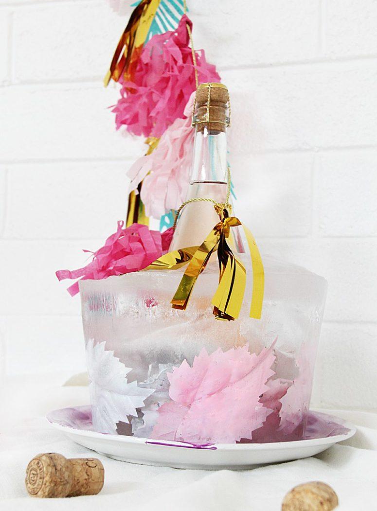 DIY pastel faux leaves ice bucket (via abubblylife.com)