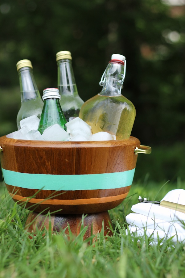DIY striped ice bucket of wooden bowls