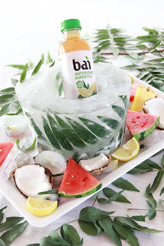 DIY palm leaf frozen ice bucket