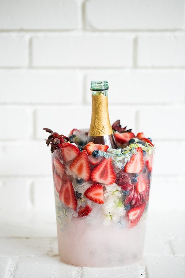 DIY charming flower, fruit and berries ice bucket