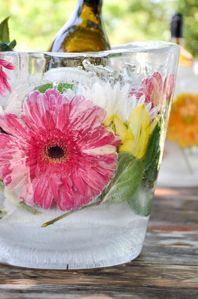 DIY colorful floral ice bucket (via www.californiagrown.org)