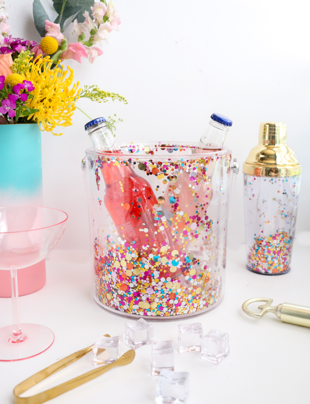 DIY confetti acrylic ice bucket
