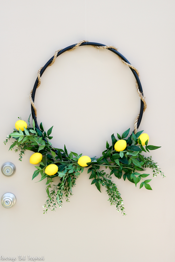 DIY hula hoop and greenery lemon wreath (via averageinspired.com)
