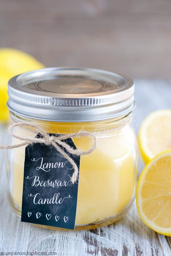 DIY lemon beeswax candle in a jar (via apumpkinandaprincess.com)