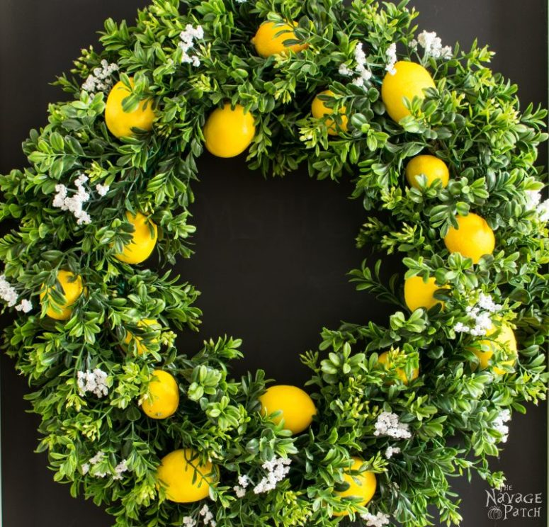 DIY faux greenery, blooms and lemons wreath (via www.thenavagepatch.com)