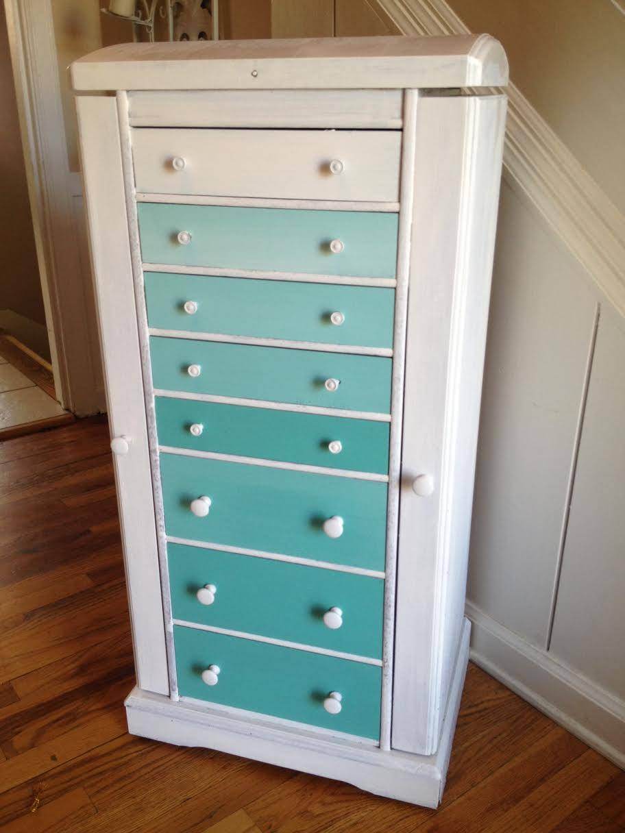 DIY white and ombre mint dresser