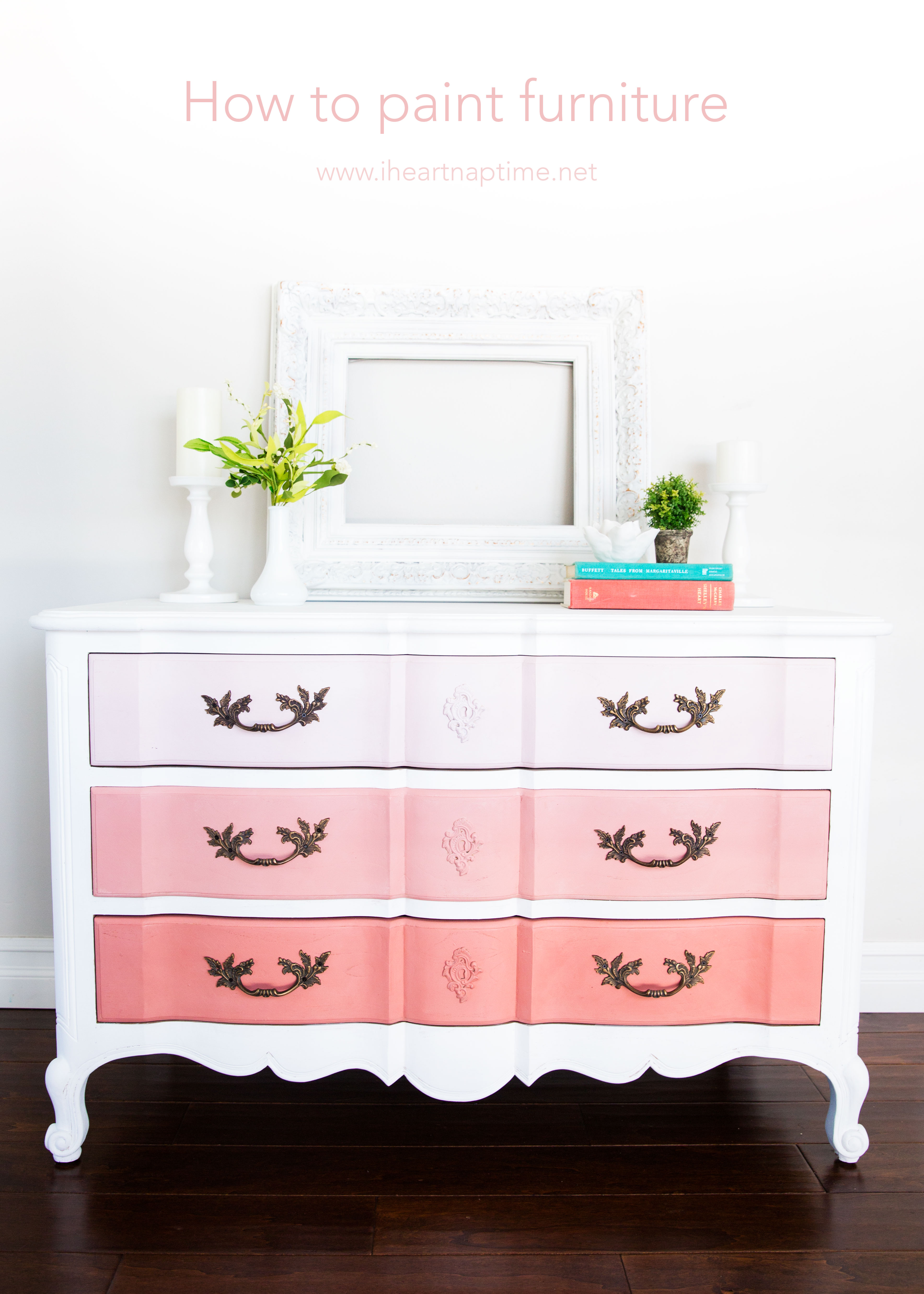 DIY vintage dresser with peachy pink ombre drawers