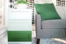 DIY ombre green dresser with no handles