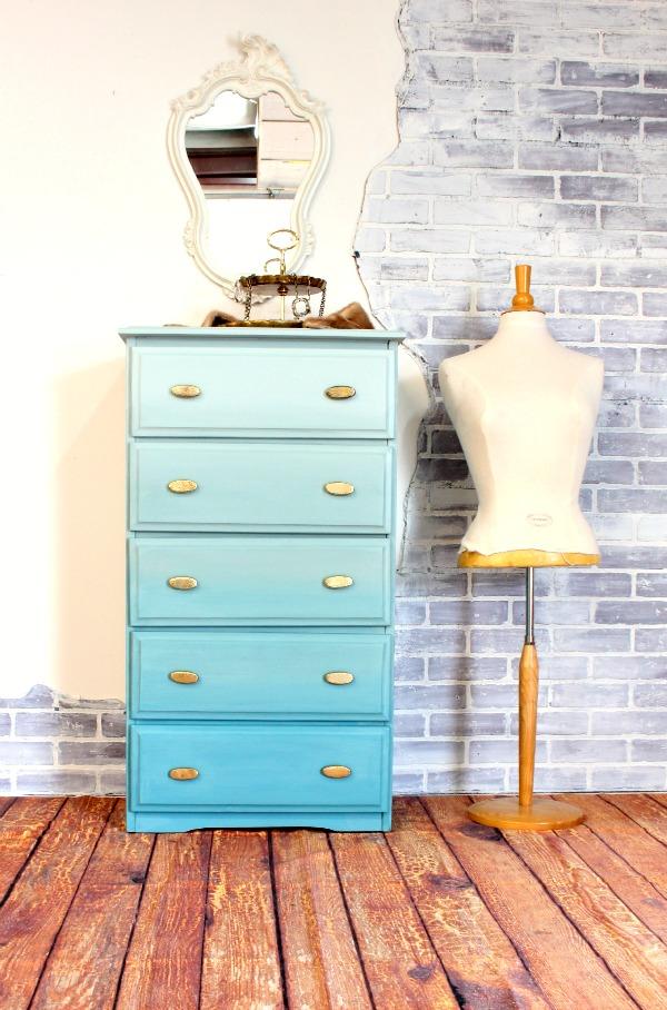 DIY ombre blue dresser with brass handles