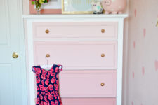 DIY ombre pink dresser with gold knobs for a girl's room