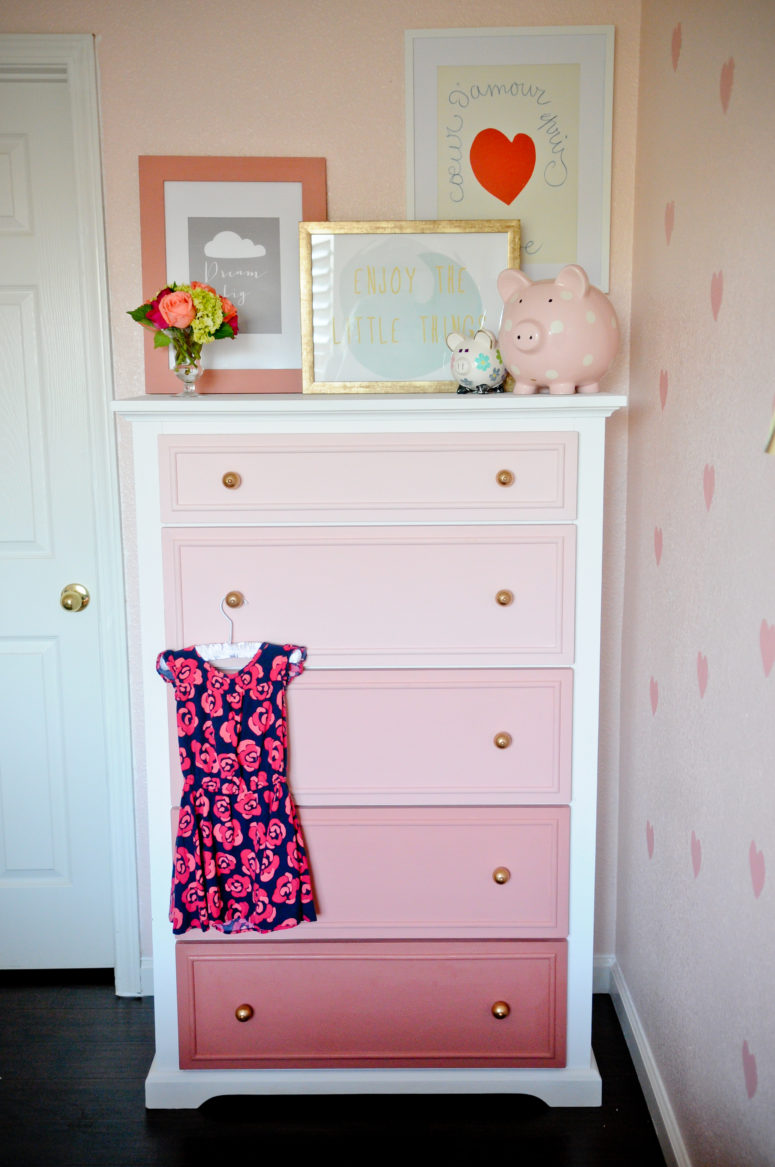 DIY ombre pink dresser with gold knobs for a girl's room (via projectnursery.com)