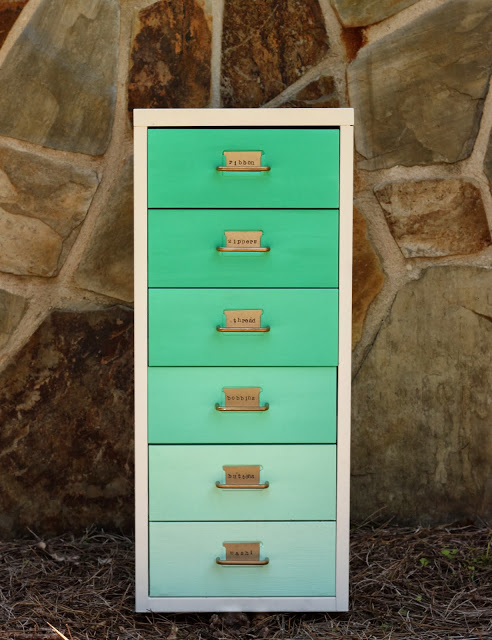 DIY IKEA Helmer dresser in ombre green with metal tags and handles